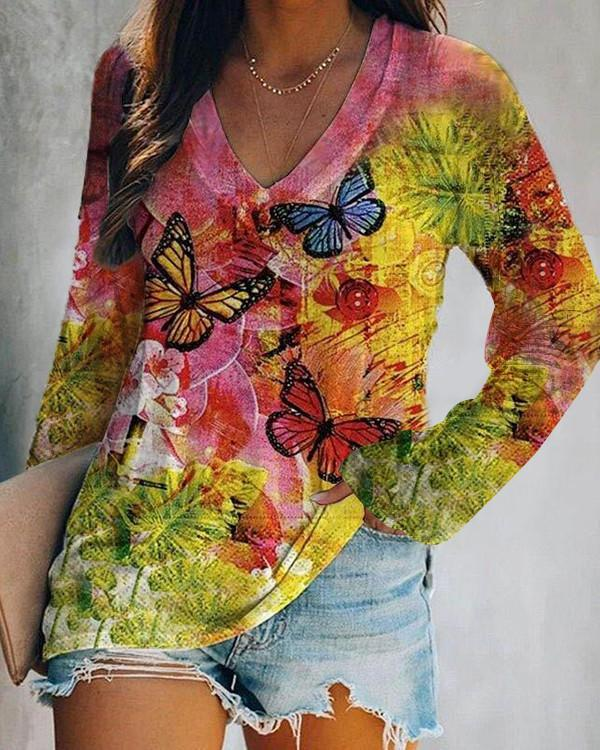Rainbow Tie-Dye Printed Long Sleeve T-Shirt