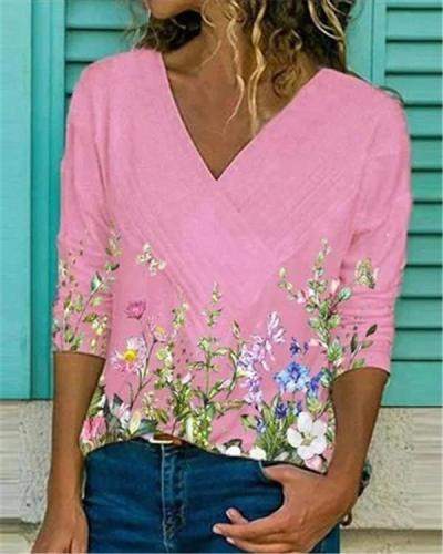 Low Neck Print Urban Casual Pullover Long Sleeves