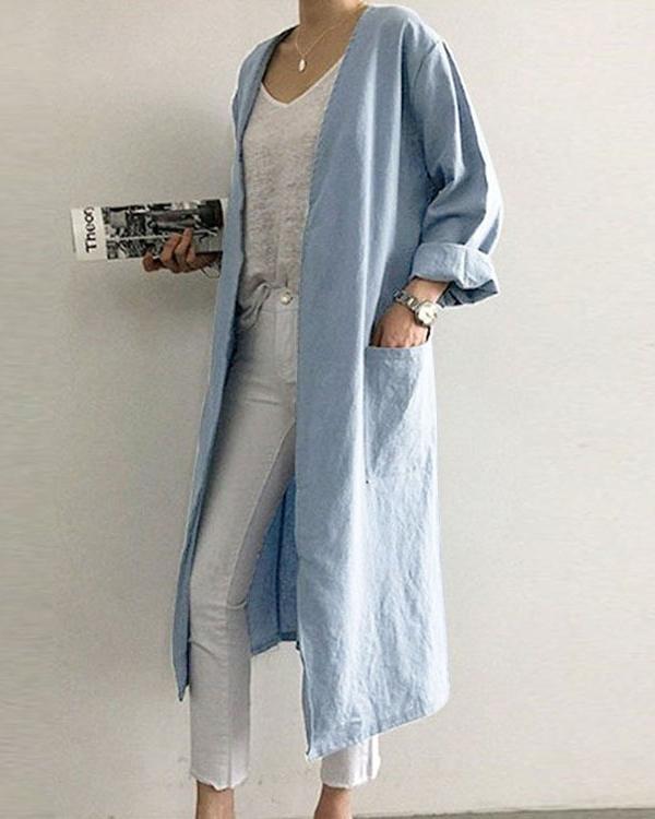 V-neck Straight Women's Trench Coat
