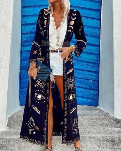Bohemian Print Casual Cardigan Jacket