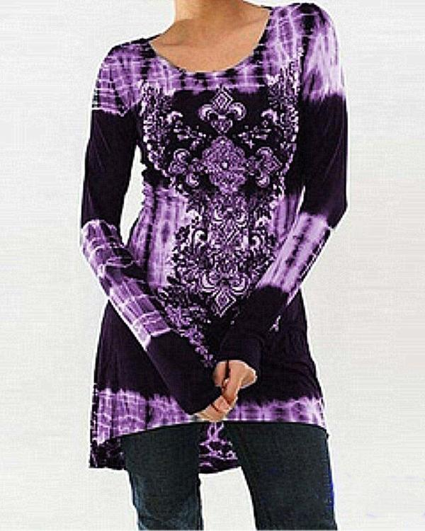 Round Neck Casual Printed Long-sleeved Top