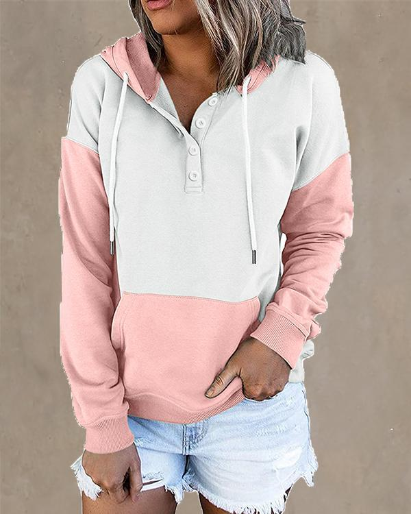 Contrast Women's Button Hoodie Pocket Pullover