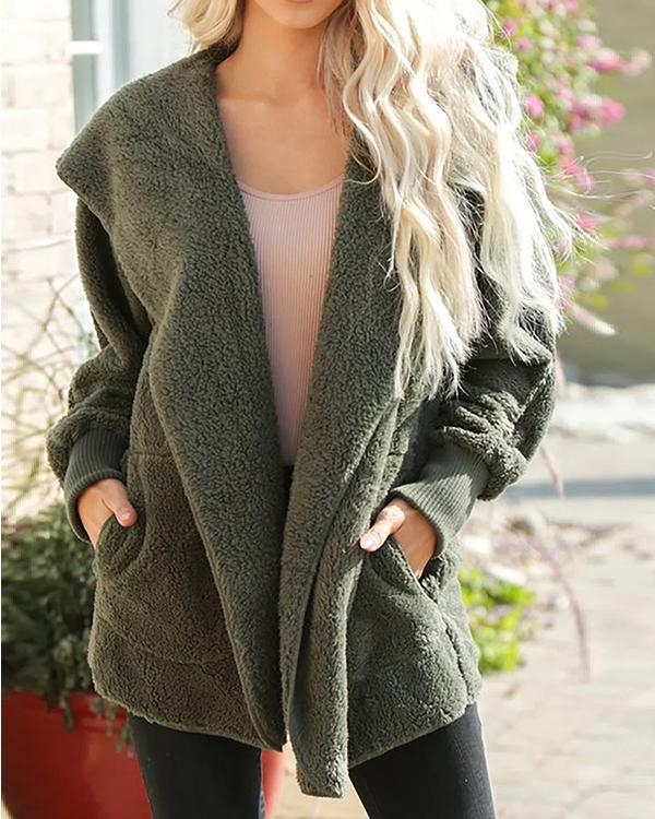 Casual Loose Hooded Furry Plush Coat