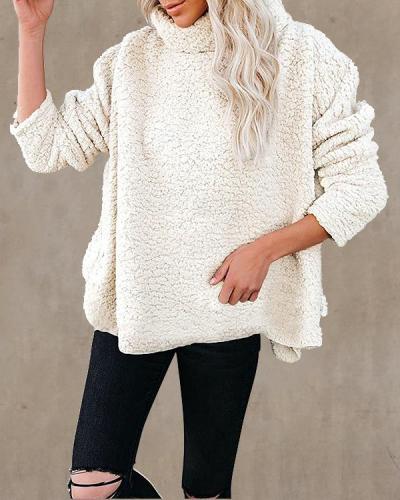 Solid Color Oversize Plush Turtleneck Pullover
