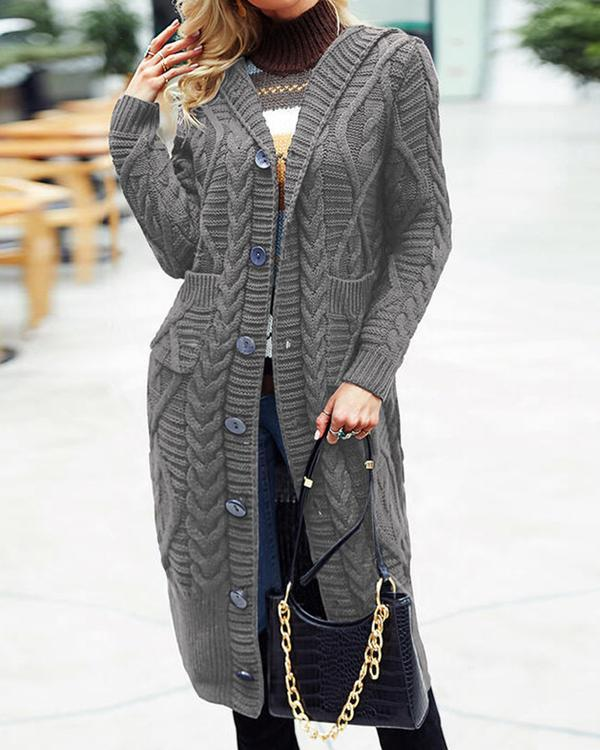 Women's Solid Button Pocket Long Sweater Cardigan