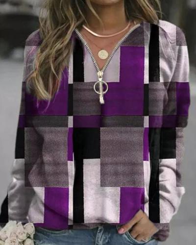 Plaid V-Neck Zipper Long Sleeves T-Shirt