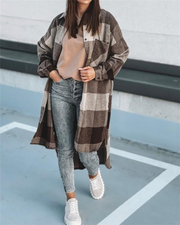 Long-sleeved Plaid Casual Single-breasted Shirt