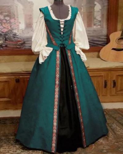 Halloween Square Neck Waisted Big Swing Dress