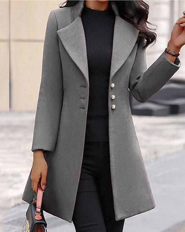 Pure Color Woolen Single-breasted Slim-fit Lapel Coat