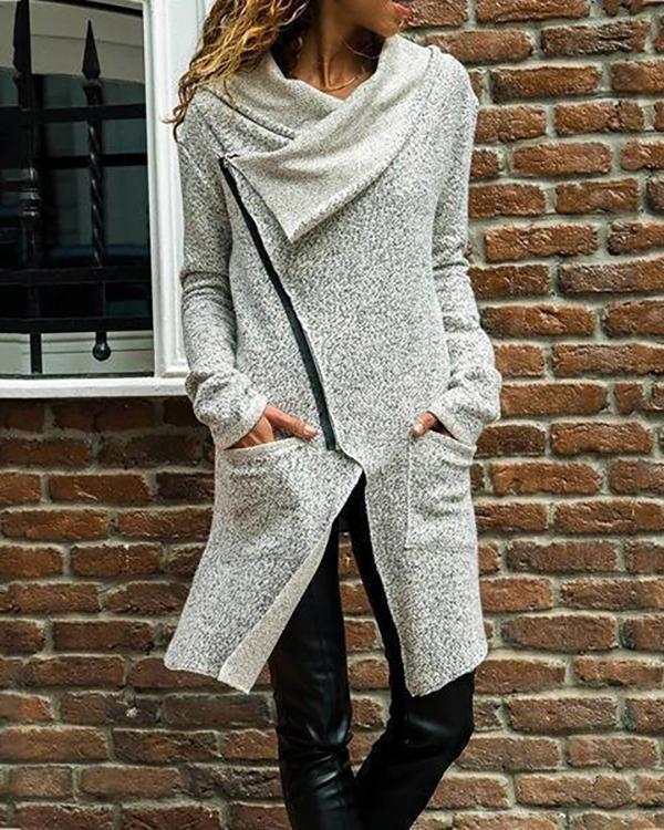 Autumn Zipper Long Fluffy Sweatshirt