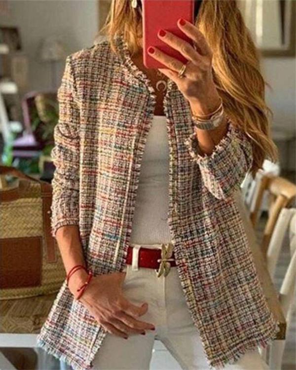 Long Sleeve Sweet Tweed Plaid Coat