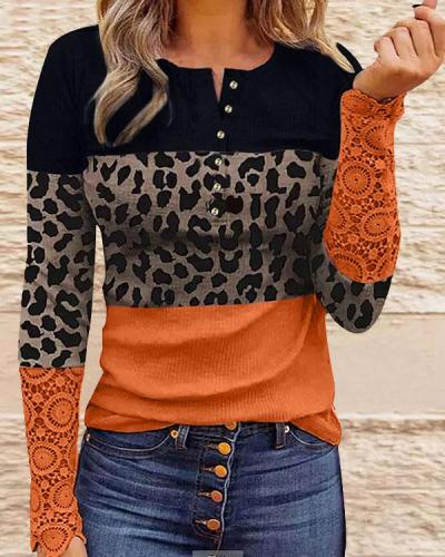 Button Slim Fit Colorblock Daily Autumn Pullover Top