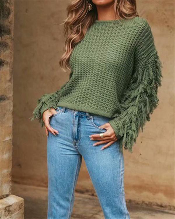 Fringed Sweater Women's Knit Sweater Sweater