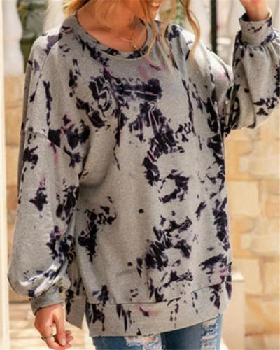 Tie-dyed Round Neck Long-sleeved Loose Pullover