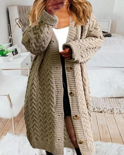 Women's Cable Knit Crotchet Button Winter Warm Long Knitted Cardigan