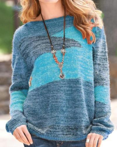 Colorblock Round Neck Long-sleeved Sweater