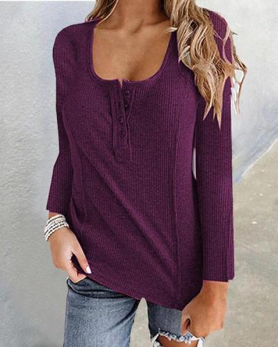 Plain Color Button U Neck Basic Fall T-shirt Tops