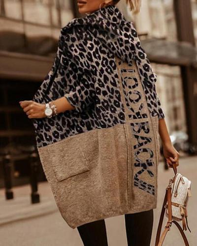 Loose Long-sleeved Leopard-print Woolen Coat
