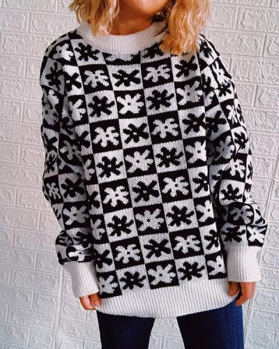 Plaid Crew Neck Casual Knitted Sweater Pullover