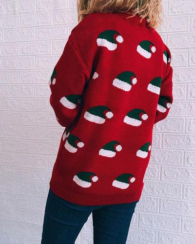 New Year's Christmas Hat Print Knitted Pullover Sweater