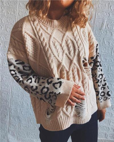 Leopard Print Stitched Crew Neck Knitted Sweater