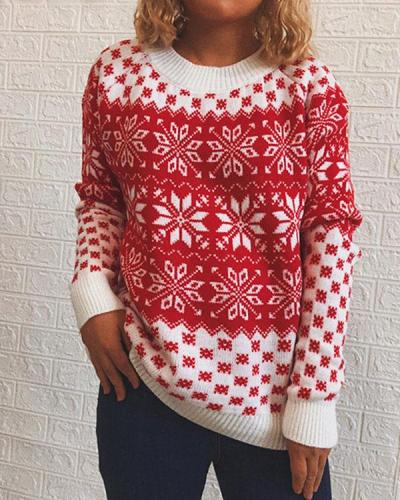 Christmas Snowflake Red White Crotchet Knitted Pullover Sweater