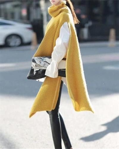 Turtleneck Sweater Knit Pullover Loose Windbreaker