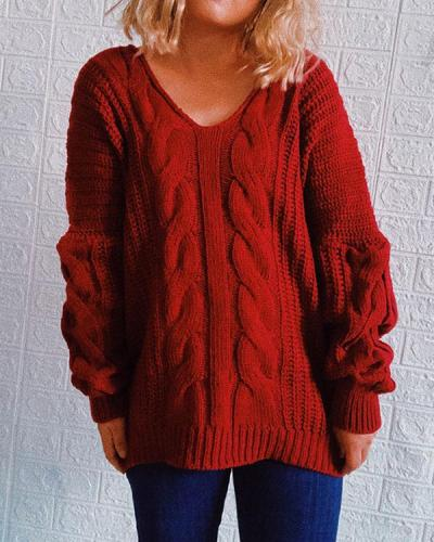 Cable Knit Chunky Casual V Neck Pullover Sweater