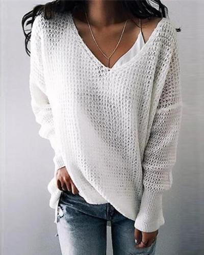Pure Color V-neck Simple Sweater