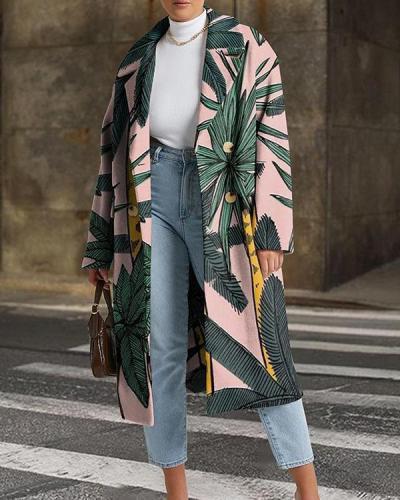 Mid-length Printed Fashionable Leaf Coat