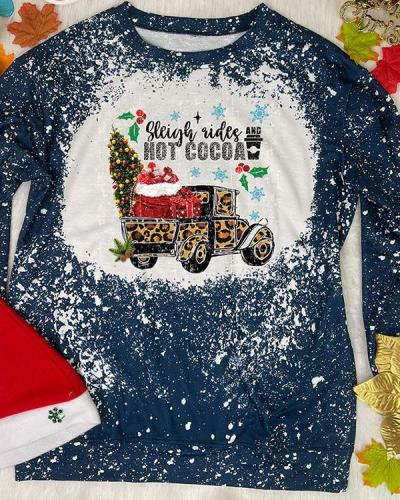 Autumn Winter Women's Print Holiday Pullover Sweatshirt