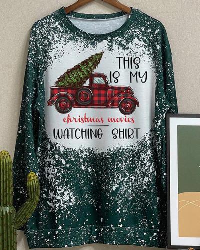 Christmas Movies Watching Shirt Print Holiday Pullover Sweatshirt