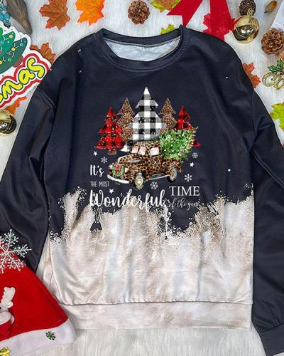 Christmas New Year Print Contrast Crew Neck Sweatshirt