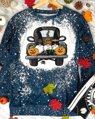 IT'S FALL Y'ALL Pumpkin Print Stain Pullover Sweatshirt