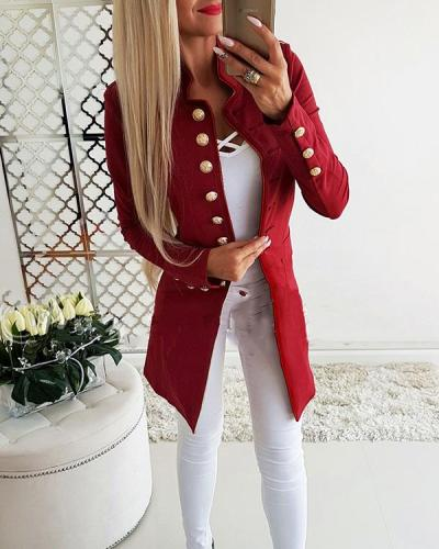 Long-sleeved Buttoned Slim-fit Blazer