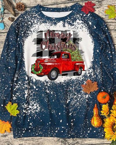 Merry Christmas Print Holiday Pullover Sweatshirt