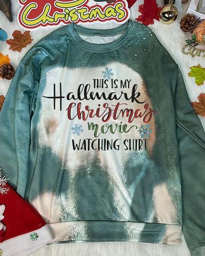 Christmas Movie Watching Shirt Print Tie Dye Sweatshirt