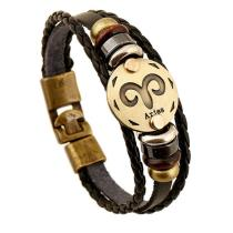 Unisex Leather 12 Constellation Leather Bracelet Bracelet Hand-woven Men Bracelet