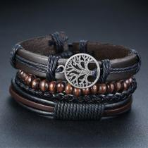 Vnox 4Pcs/ Set Braided Wrap Leather Men Bracelet
