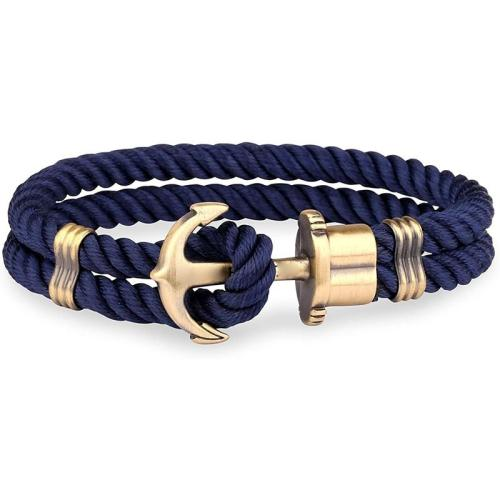 Men Anchor Bracelet  Made of Nylon in Navy Blue Made of Brass
