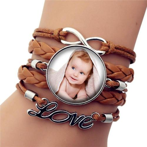 Custom Handmade Leather Bracelet Photo of Your Baby Child