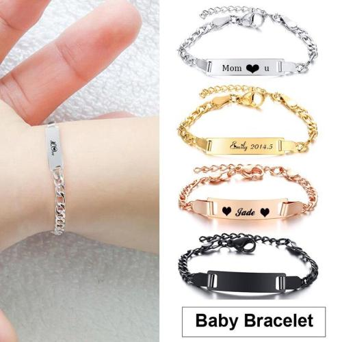 Baby Bracelet Name Bar Armband Gold  Silver color Stainless Steel Bracelet