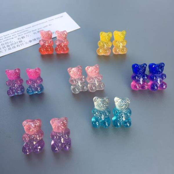 Cartoon Gummy Bear Stud Earrings Girl