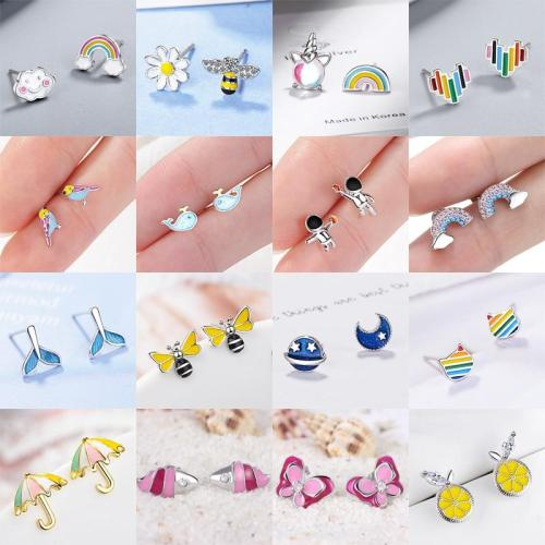 Cartoon Lovely Stud Earrings Small Earring Silver Colorful Jewelry Women