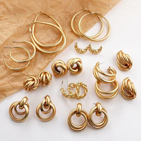 Drop Earrings For Women Multiple Trendy Round Geometric