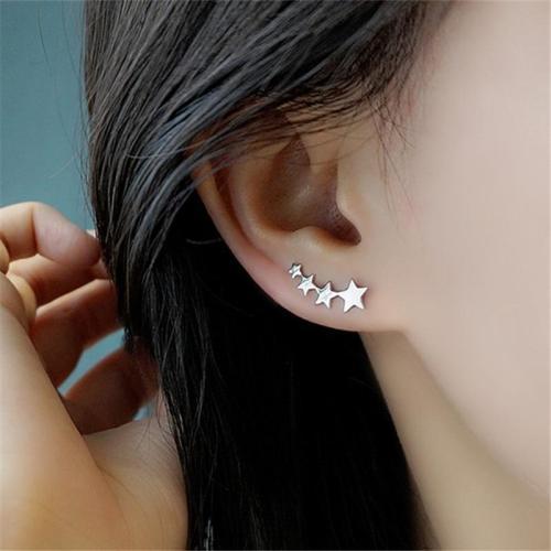 925 Silver Star Stud Earrings Women Kids