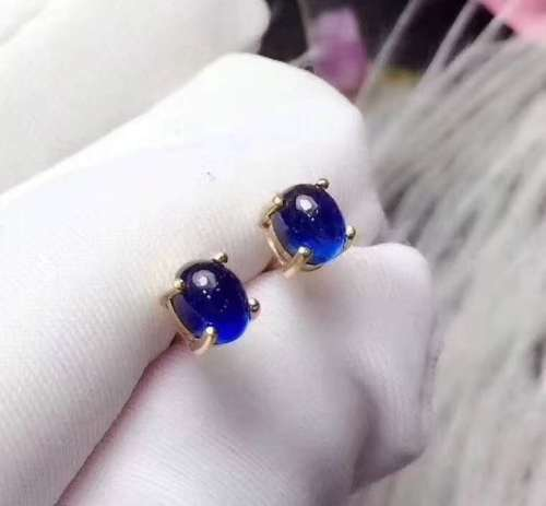 Natural Sapphire Stud Earrings For Women Pure 925 Sterling Silver