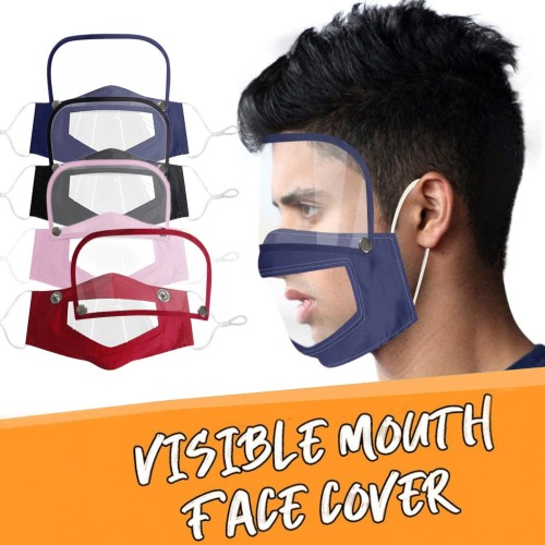 (Buy 4 Free Shipping)2 In 1 Clear Smile Mask with Eye Shield-4 Colors