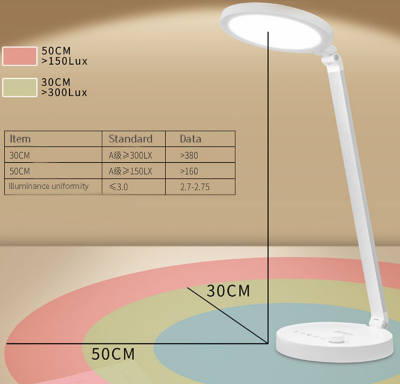 Round Design CCT adjustable knob control LED Table Lamp Desk Lamp With USB Port
