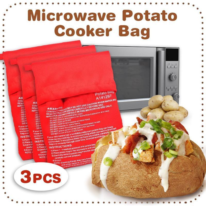3pcs New Potato Express Microwave Cooker Bags 4 Minutes Fast Reusable Washable